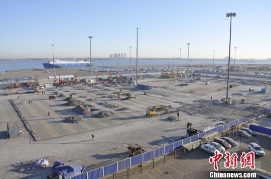 天津港开建北方首座多层汽车库 开始主体施工