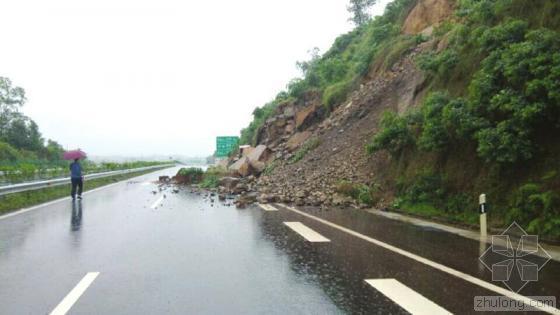 成自泸赤高速山体滑坡致道路中断