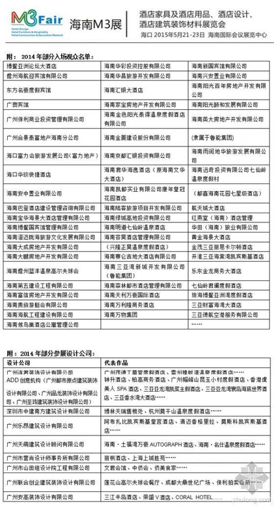 2015海南M3展酒店家具及酒店用品参展邀请函