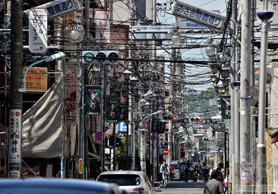 日本东京一街道 电线遮天蔽日