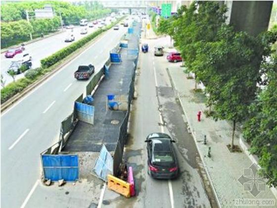 武汉一施工围挡不见指示牌 致多辆车走错