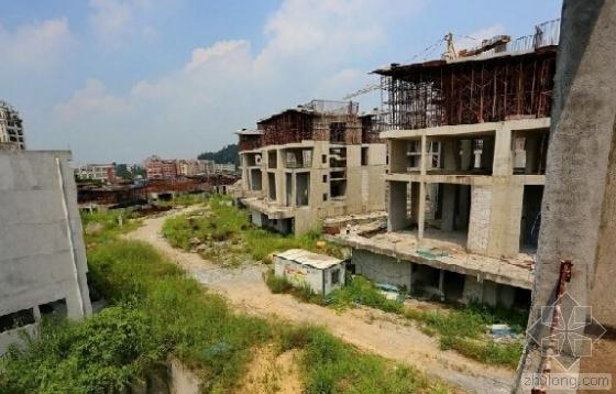广州超级别墅群意外停工 钢筋生锈杂草丛生
