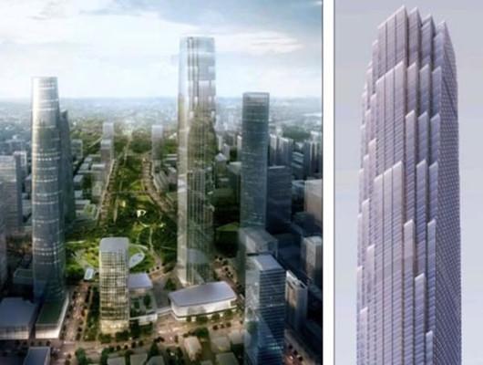 CBD意向方案中提到的五座超高层建筑,山东第一高的造型借鉴济南的山体和涌泉。