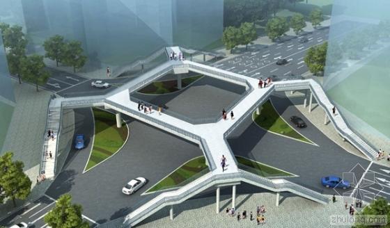 [广州]29.35+18.75米两跨连续钢箱梁人行天桥工程量请单计价实例(含施工图纸)