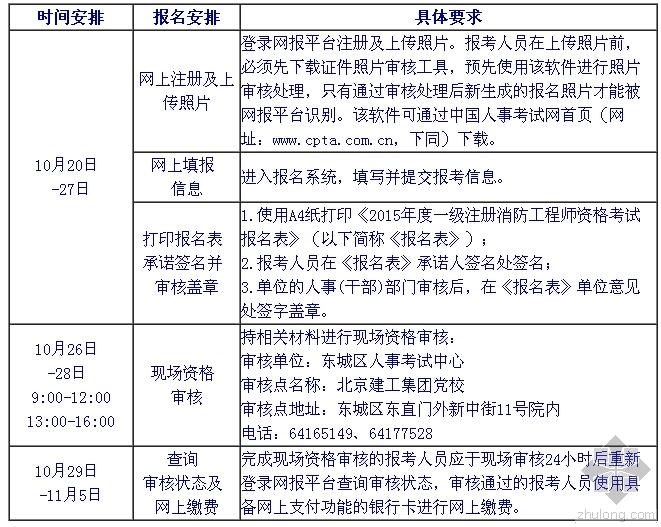 注册消防考试具体时间--摘自北京人事考试网