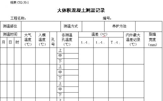 大体积混凝土测温记录表(空白)