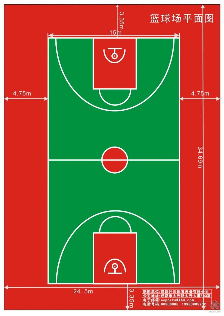 新式塑胶篮球场设计图