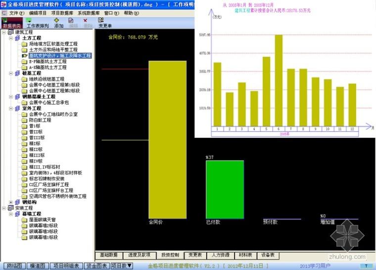 金格项目进度管理软件简介(网络图,横道图,投资控制)