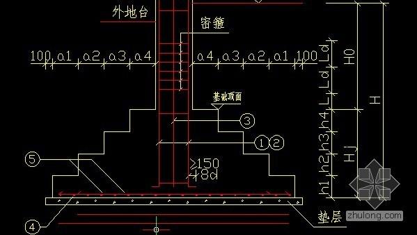 基础内部的柱子钢筋的箍筋间距是多少