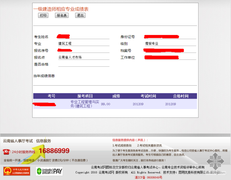 2012年云南省一级建造师成绩发布,晒晒我的房建增项成绩单