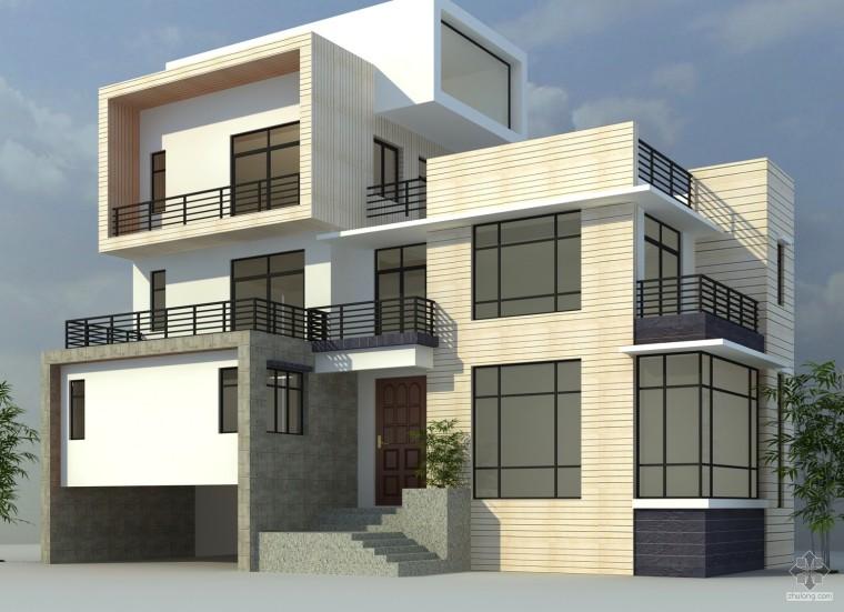 现代风格的别墅有cad和效果图