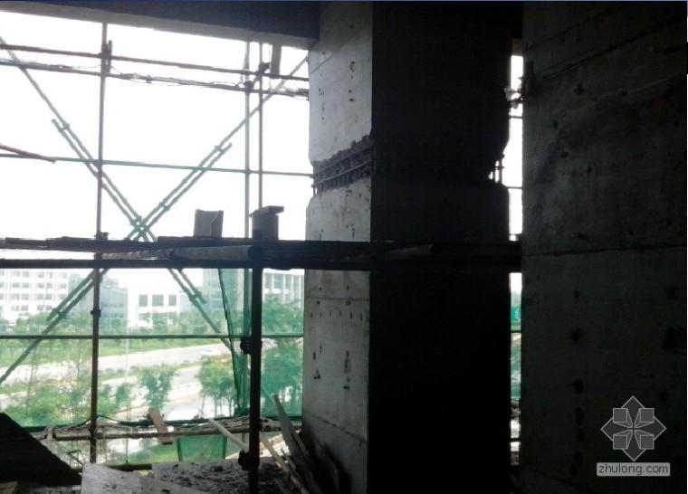 剪力墙、框架柱贯通孔洞(断层),这样修补行吗?