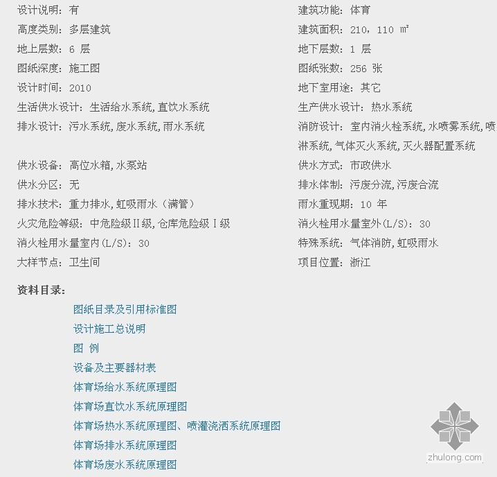 [浙江]奥体博览城全套给排水施工图纸(256张)