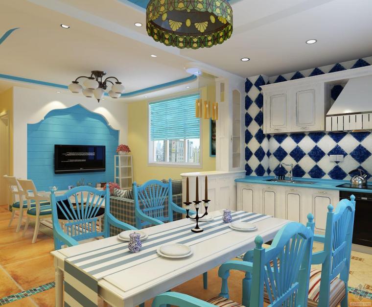 [地中海风格]地中海风格客餐厅3D效果图欣赏