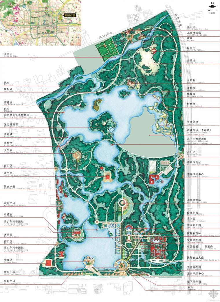北京朝阳公园总平面图