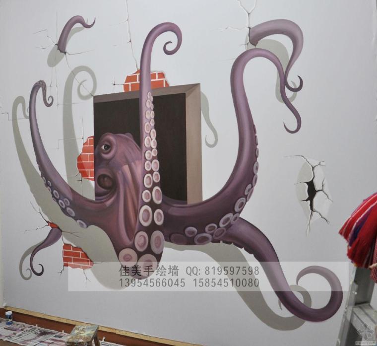 烟台惊现大章鱼~~烟台手绘墙 3D立体画 烟台墙体彩绘 文化墙彩绘