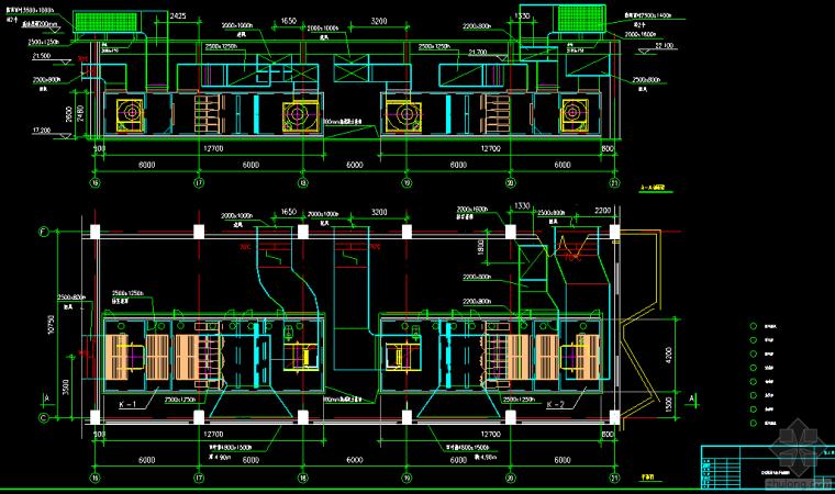 平面厂房规划规划文本资料下载-某厂房空调风管、蒸汽及空调水系统平面、剖面图