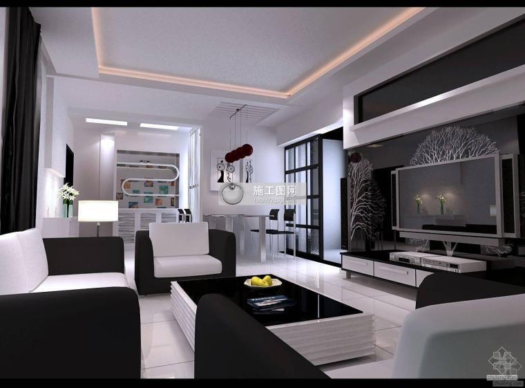 黑白混搭三室二厅装修图含效果
