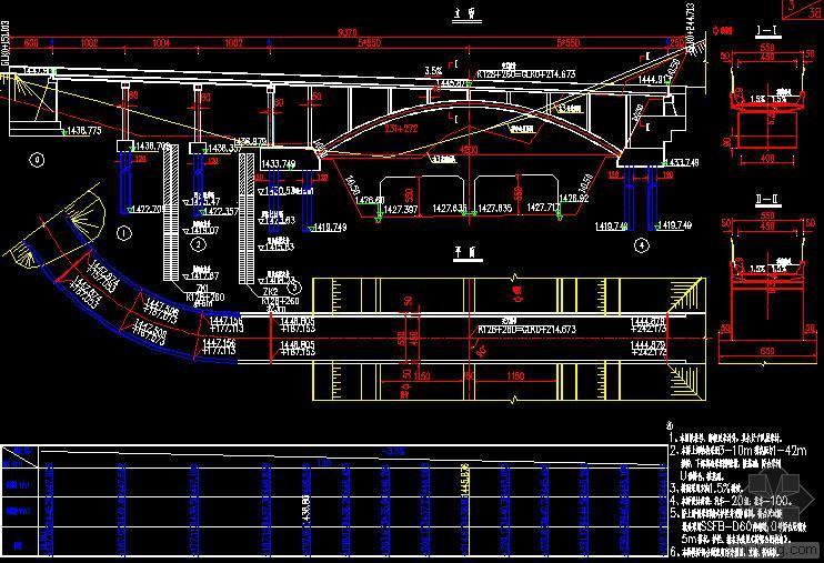 A8-128+260天桥设计图31张(3-10m现浇板 1-42m拱桥)