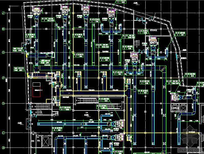 武汉某商场暖通施工图(风冷热泵机组)
