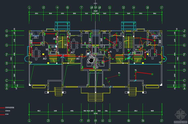 某联体别墅电气平面图