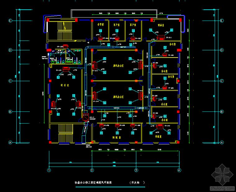 三层办公楼空调平面图