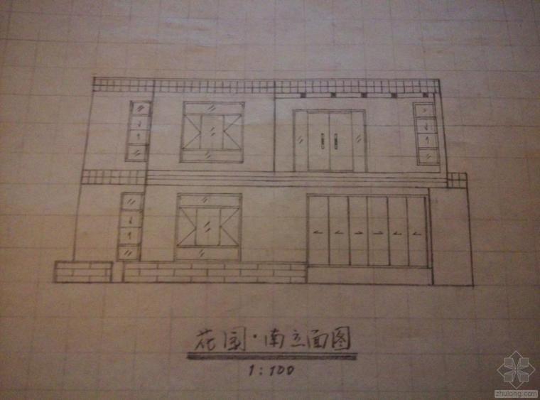 [手绘别墅]二层建筑平立面图