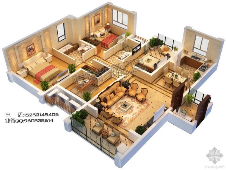 家配图 户型图 三维立体户型渲染图制作
