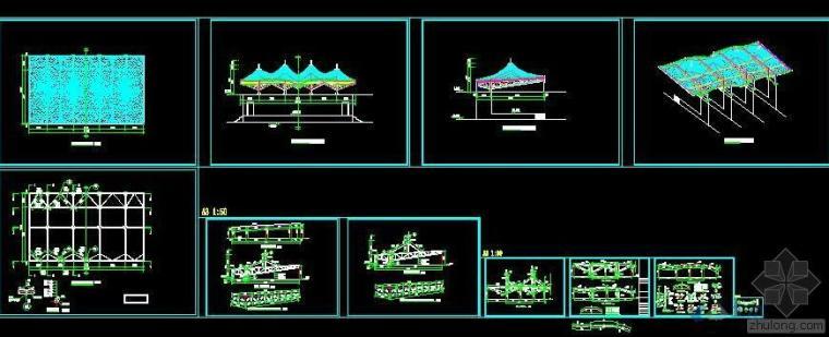学校运动场钢膜结构主席台设计图纸