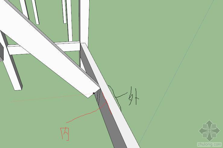 建筑坡屋面中的斜梁与主梁相交,斜梁起坡位置怎么确定?