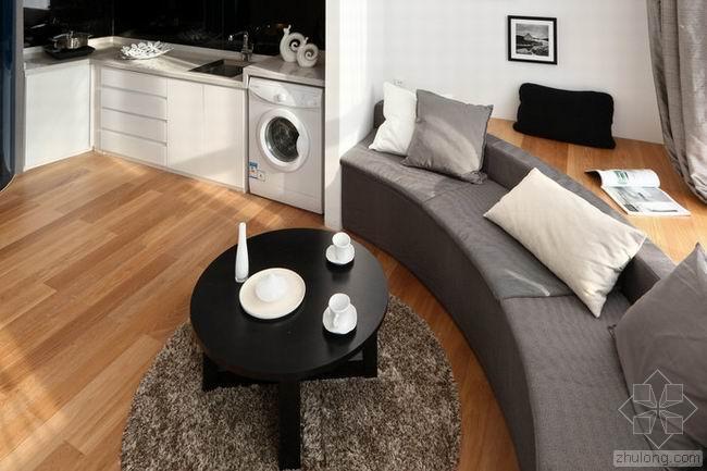 60平米黑白灰三色简约住宅