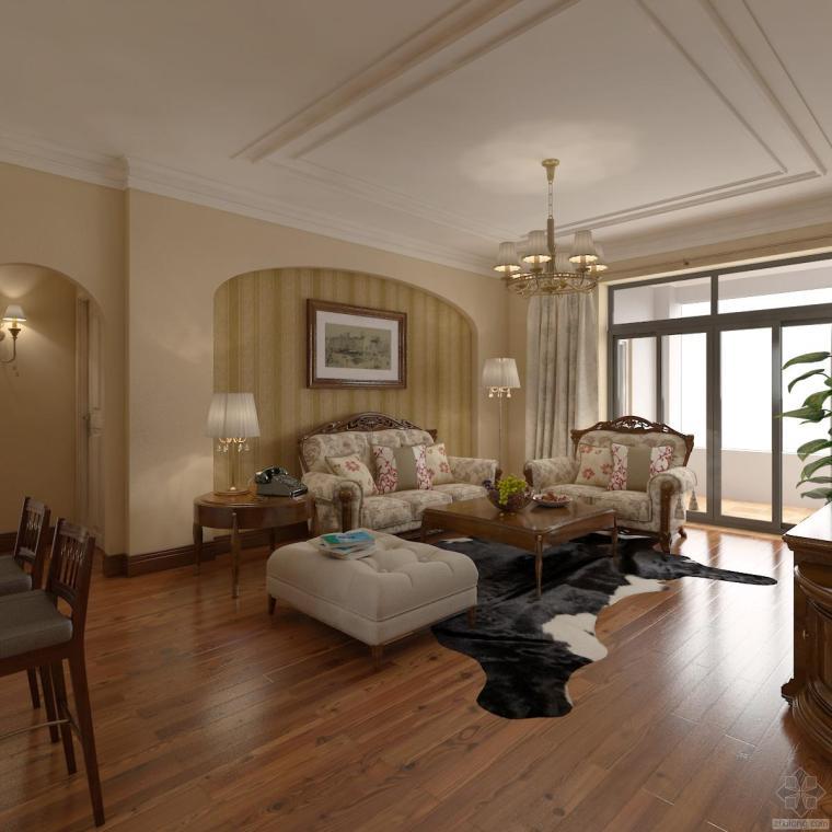 美式家装设计全套施工图纸与模型+效果图
