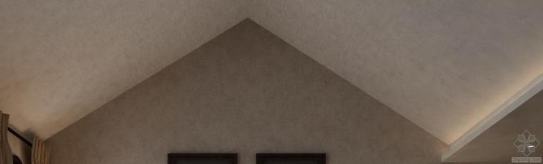 坡屋顶别墅三层主卧室吊顶如何做