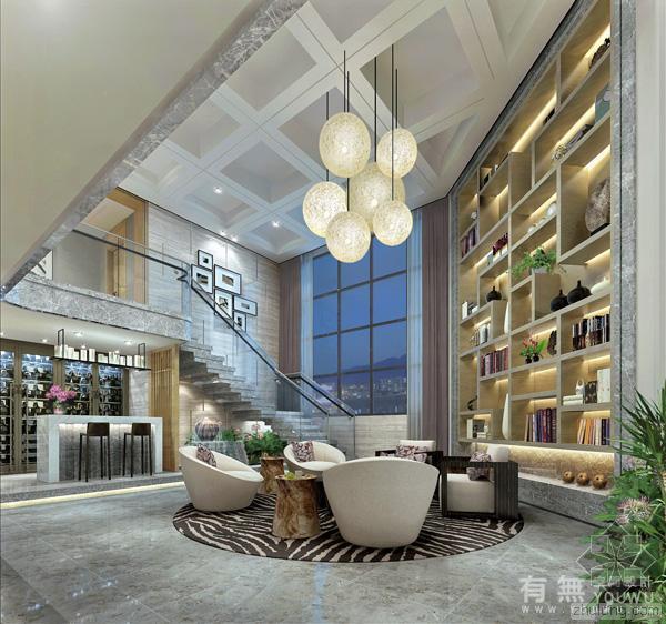 [后现代中式豪宅]蓝郡广场复式楼——香港有无空间设计公司