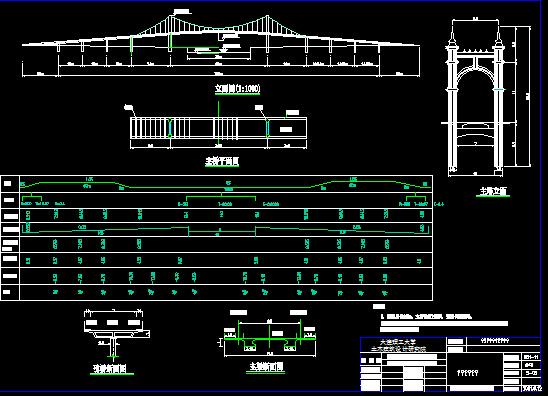大连市金石滩滨海路桥吊桥图纸60张含计算书