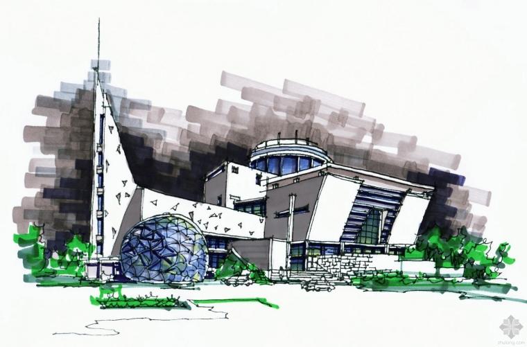 建筑快题设计案例-科技馆快速设计