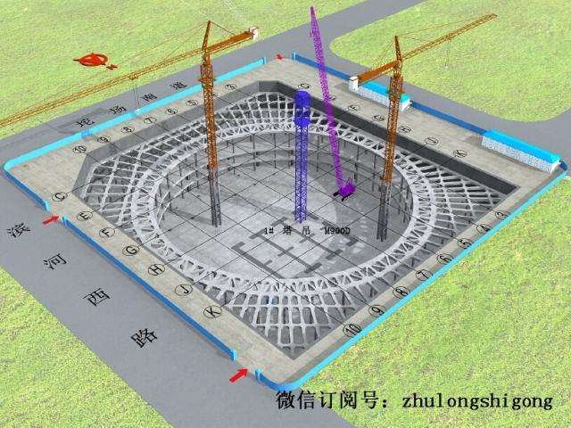 超高层地标建筑施工总体流程图(三维演示图)