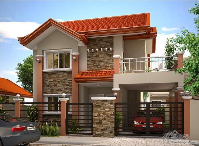 新农村自建房8米X12米100平方两层带车库房屋设计图