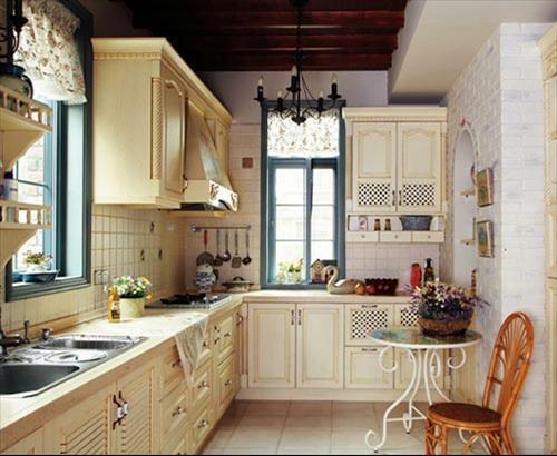 u型厨房橱柜效果图资料下载-田园风格厨房效果图分享