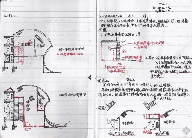 手绘施工节点——施工现场日记——现场施工技术记录