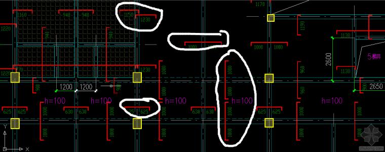 请问cad现浇楼板配筋怎么看?图中圈出的这些都符号是什么意思?