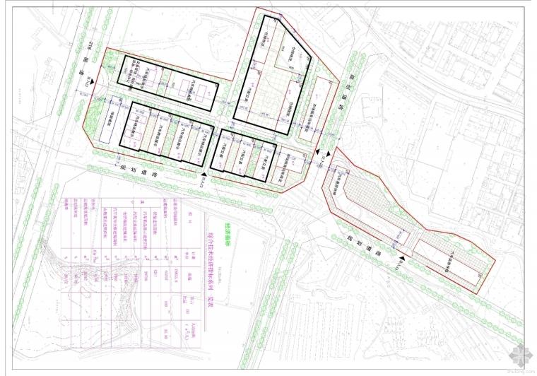 一个汽配城方案关于车道的布置与商铺布置问题