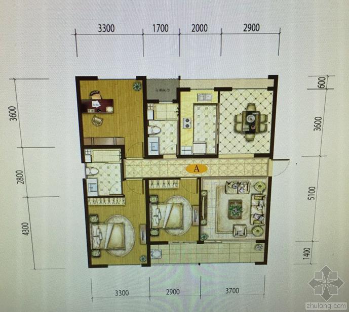 求130平米三室两天两卫房型装修效果图