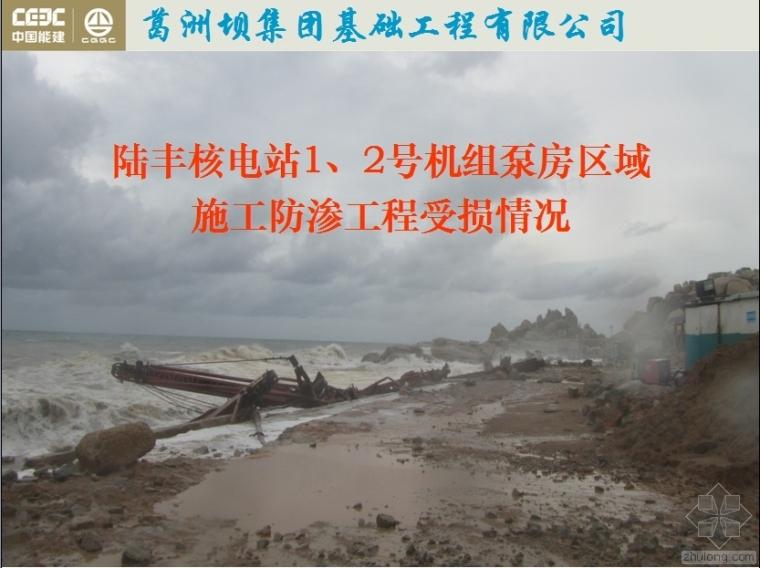 陆丰核电站1、2号机组泵房区域施工防渗工程受损情况
