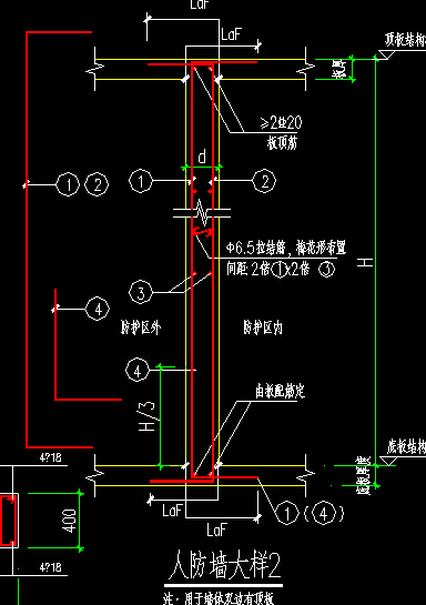 人防墙钢筋与暗柱钢筋如何排布?