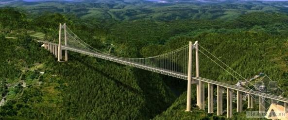 """世界最大单跨板桁结合加劲梁悬索桥""""清水河大桥"""""""