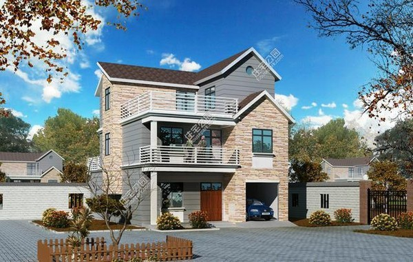 新農村自建房別墅,3層280㎡帶車庫,全圖+預算