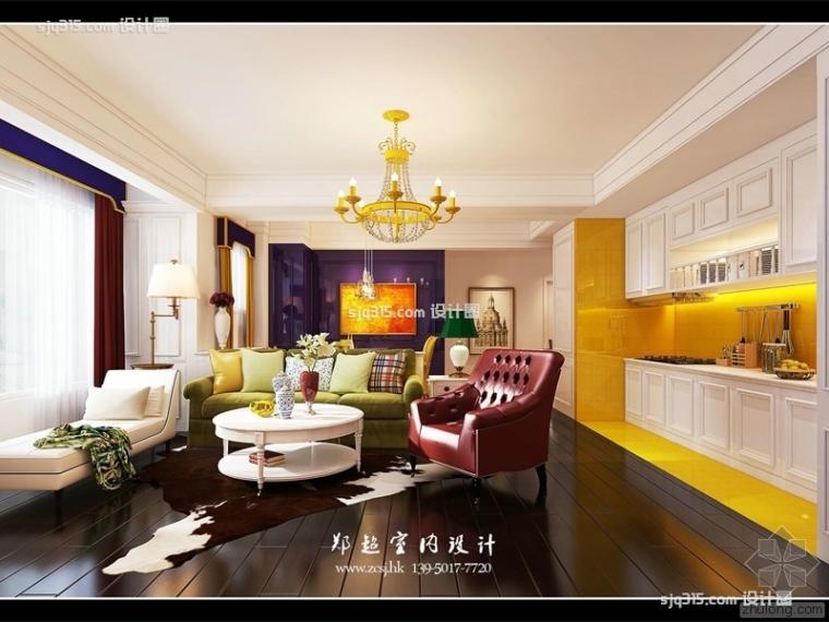 美式风格80平米二居室装修效果图|设计圈郑超设计师