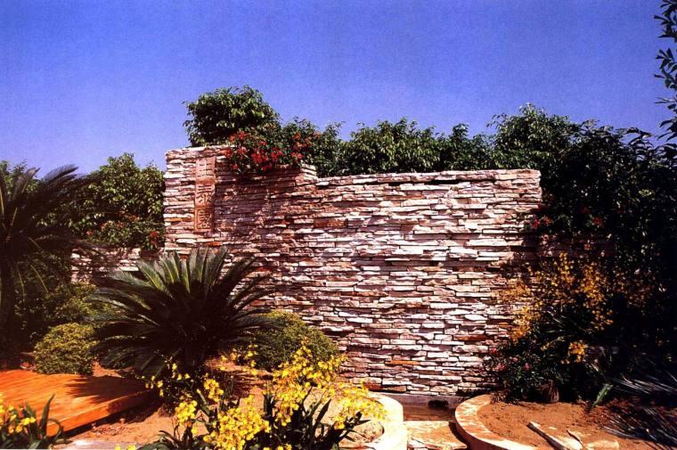 文化石装饰的景墙
