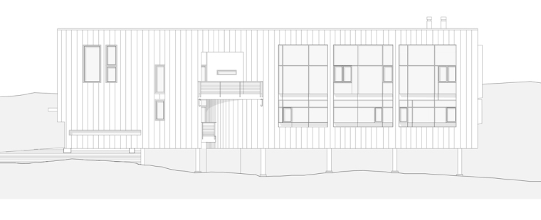 南立面图 south elevation-雕刻家公寓(Residence for a Sculptor)第21张图片